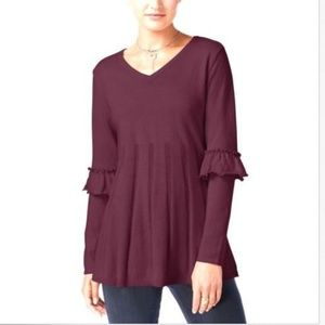 Style&Co Ruffled Sleev Pleated Pullover Sweater XL